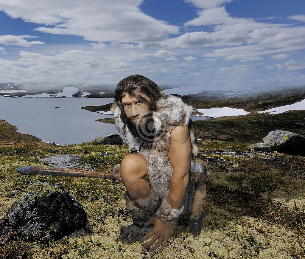Reconstructie Neanderthaler in toendralandschap