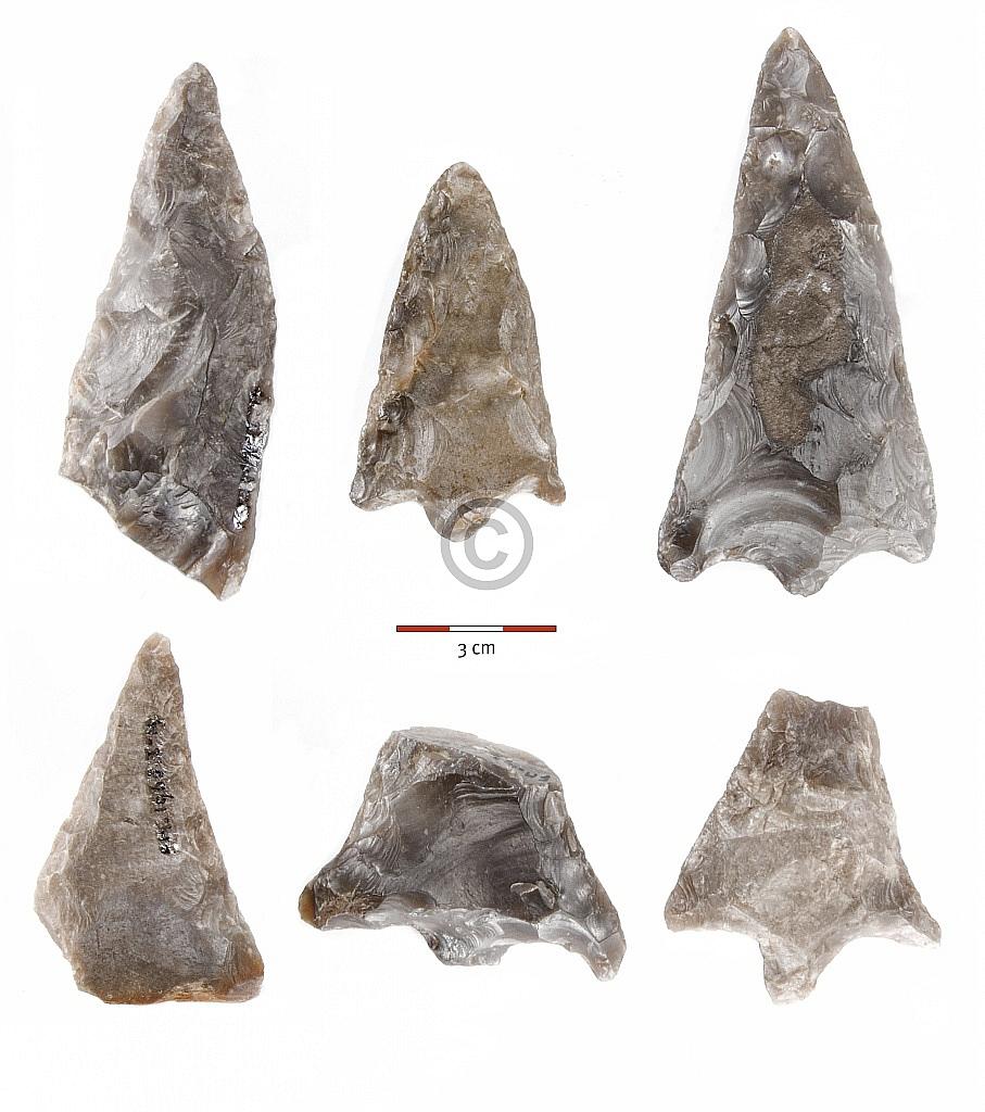 Ravenswoud (Fryslân), vervalste 'neolithische' of 'bronstijd'-spitsen, collectie Tjerk Vermaning